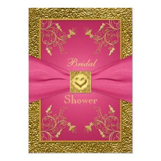 Rosa und GoldblumenBrautparty-Einladung 12,7 X 17,8 Cm Einladungskarte