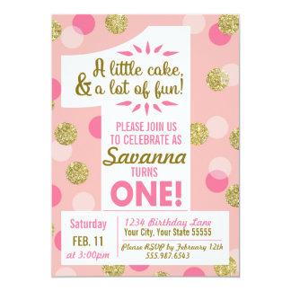Rosa und Goldconfetti-erste Geburtstags-Einladung Karte