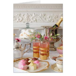 Rosa und Goldgeburtstags-Karte, englischer Tee, Grußkarte