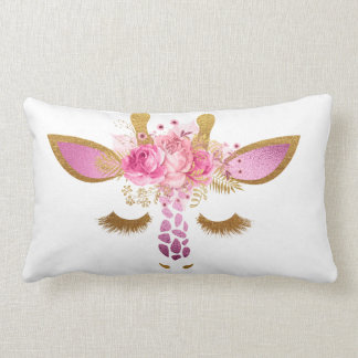 Rosa und Goldgiraffen-Kissen Lendenkissen