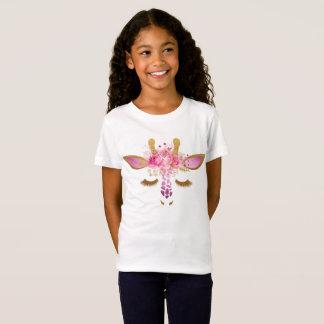 Rosa und Goldgiraffen-Mädchen-T - Shirt