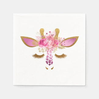 Rosa und Goldgiraffen-Servietten Papierserviette