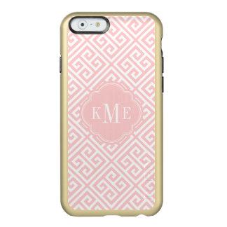 Rosa und Goldgriechisches Schlüsselmonogramm Incipio Feather® Shine iPhone 6 Hülle