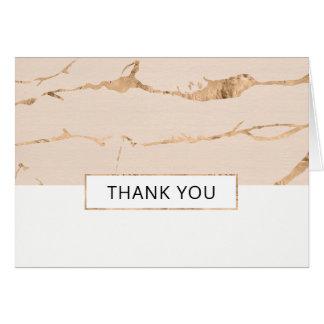 Rosa und Goldmarmoreffekt danken Ihnen zu Karte