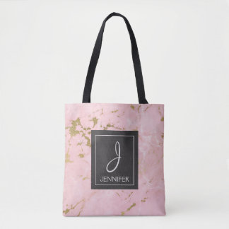 Rosa und Goldmarmormonogramm-Buch-Tasche Tasche