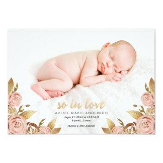 Rosa-und GoldPainterly Rosen-Geburts-Mitteilung Karte