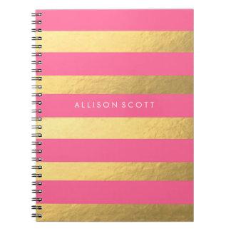 Rosa und Goldpersonalisiertes Notizbuch