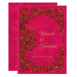 Rosa und Goldpfau-indische Hochzeits-Einladung Karte