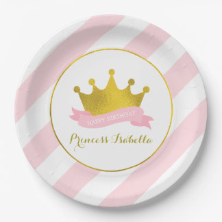 Rosa und Goldprinzessin Birthday Party Pappteller