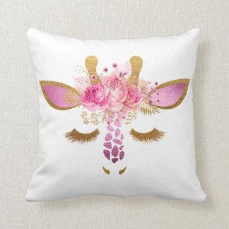 Rosa und Goldschlafengiraffen-Kissen Kissen