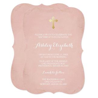 Rosa und Goldtaufe-Einladung ~ Imitat-Gold Karte