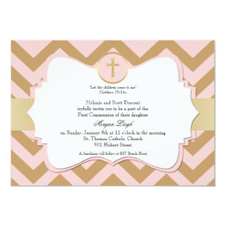 Rosa und GoldZickzack Quermädchen-Kommunion 12,7 X 17,8 Cm Einladungskarte