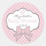 Rosa und Grau-Baby Dusche Runder Sticker