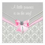 Rosa und graue Damast-Rosa-Bogen-Prinzessin Personalisierte Einladungen