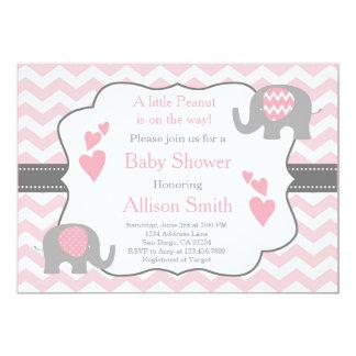 Rosa Und Graue Elefant Babyparty Einladung 12,7 X 17,8 Cm