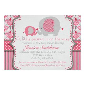 Rosa und graue Elefant-Babyparty-Einladung Karte