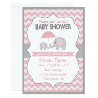 Rosa Und Graue Elefant Babyparty Einladungen Karte