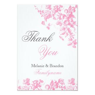 Rosa und graue Hochzeit danken Ihnen kardiert 8,9 X 12,7 Cm Einladungskarte