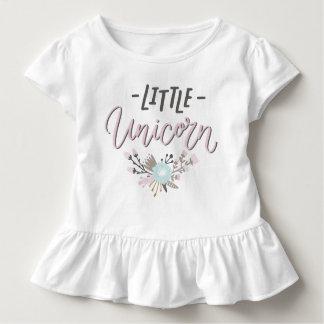Rosa-und graue kleine Einhorn-Handmit buchstaben Kleinkind T-shirt