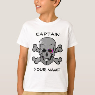 Rosa und graue Piratenflagge T-Shirt