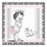 Rosa und graue Vintage Baby-Mädchen-Dusche Personalisierte Ankündigungskarten