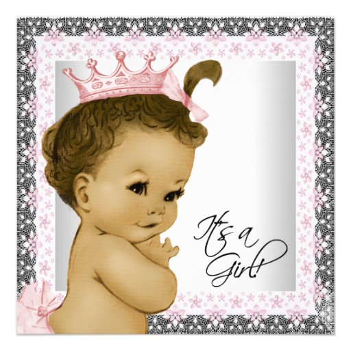 Rosa und graue Vintage Baby-Mädchen-Dusche Ankündigungen