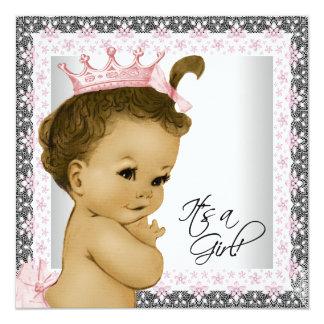 Rosa und graue Vintage Baby-Mädchen-Dusche Quadratische 13,3 Cm Einladungskarte
