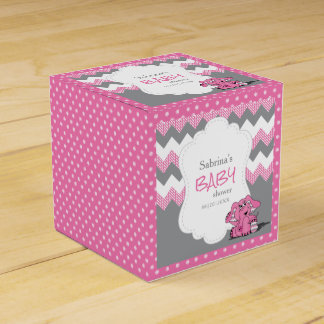 Rosa und graue Zickzack Elefant-Baby-Dusche Geschenkschachtel