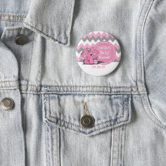 Rosa und graue Zickzack Elefant-Baby-Dusche Runder Button 5,7 Cm
