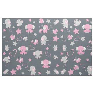 Rosa und grauer Baby-Elefant-Muster-Druck Stoff