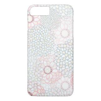 Rosa und grauer Blumen-Explosions-Entwurf iPhone 8 Plus/7 Plus Hülle
