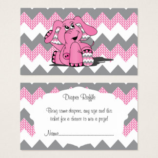 Rosa und grauer Zickzack Elefant-Baby-WindelRaffle Visitenkarte