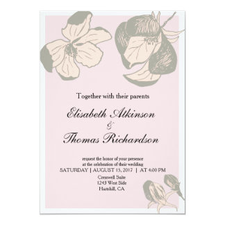 Rosa und graues Apple blühen Hochzeits-Einladung Karte