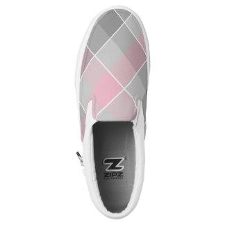 Rosa und graues checkered kariertes Slip-On sneaker