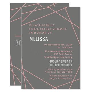 Rosa und graues modernes Brautparty Karte