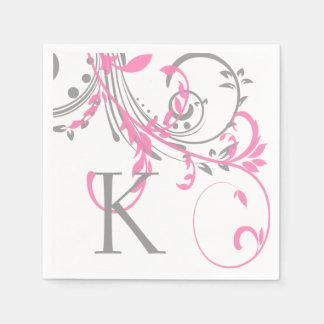 Rosa und graues Monogramm-Doppeltes mit Blumen Papierservietten