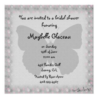 Rosa und graues Schmetterlings-Brautparty Einladungskarte