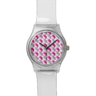 Rosa und graues yin Yang-Muster Armbanduhr