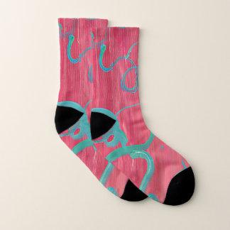 Rosa-und Grün-abstrakte Socken