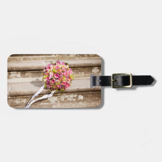 Rosa-und Grün-Blumenhochzeits-Blumenstrauß Gepäckanhänger