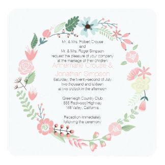 Rosa-und Grün-BlumenKranz-Hochzeit Quadratische 13,3 Cm Einladungskarte