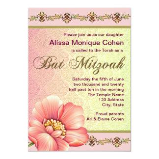 Rosa-und Grün-Blumenschläger Mitzvah 12,7 X 17,8 Cm Einladungskarte