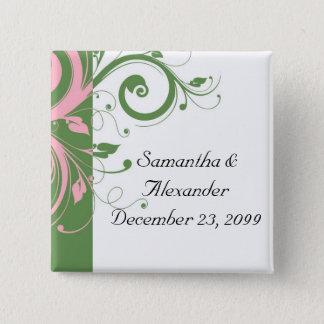 Rosa-und Grün-Blumenstrudel-Hochzeit Quadratischer Button 5,1 Cm