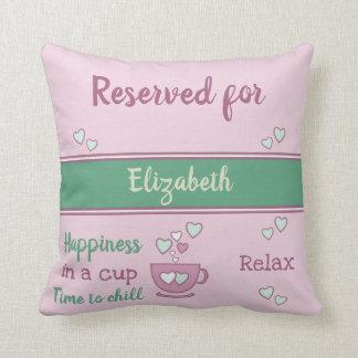 Rosa und Grün entspannen sich die Kaffeetasse, die Kissen