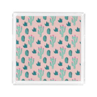 Rosa-und Grün-niedliches Kaktus-Muster Acryl Tablett