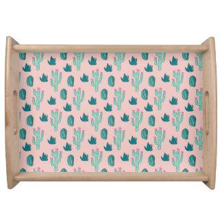 Rosa-und Grün-niedliches Kaktus-Muster Tablett