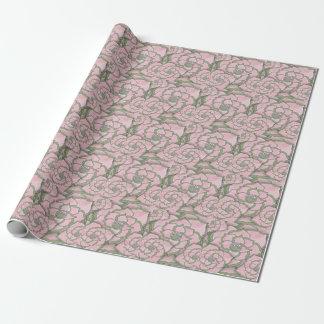 Rosa und grüne Blumen-Collagen-hübsches weibliches Geschenkpapier