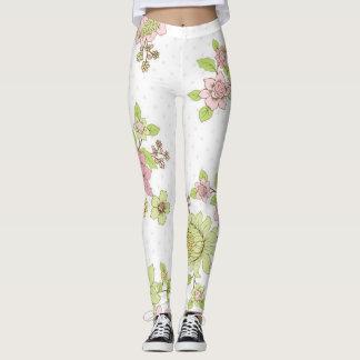 Rosa und grüne Blumen-Gamaschen für Yoga Leggings