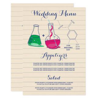 Rosa und grüne Chemie-Hochzeits-Menü-Karten Karte