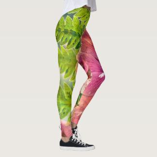 Rosa und grüne Mohnblumen-Gamaschen Leggings